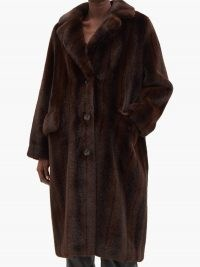 STAND STUDIO Theresa faux-fur coat ~ brown vintage inspired winter coats ~ glamorous outerwear ~ glamour