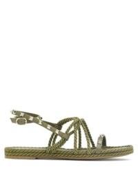 VALENTINO GARAVANI Torchon Rockstud leather sandals in khaki green | strappy braid style sandal