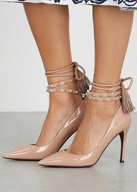 Valentino Garavani Flair 100 almond patent leather pumps ~ party heels ~ ankle wrap court shoes ~ luxe tasseled courts