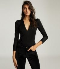 REISS VALERIA LONG SLEEVED PLUNGE BODYSUIT BLACK ~ deep V neck bodysuits