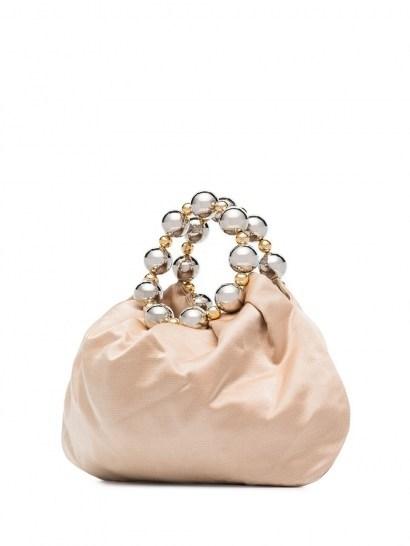 Vanina Juliette silk-satin tote bag / small bead embellished top handle bags - flipped