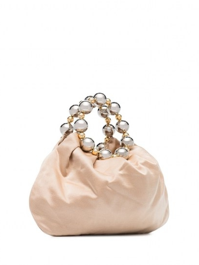 Vanina Juliette silk-satin tote bag / small bead embellished top handle bags