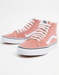 Vans UA Sk8-Hi trainers in pink rose dawn / true white – girly high top sneakers