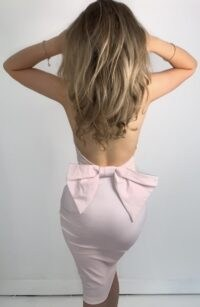Vesper Allie Bow Back Ice Pink Midi Dress ~ halterneck wiggle dresses ~ going out bodycon ~ fitted evening fashion