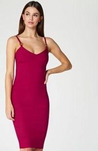 Vesper Amara Berry Strappy Bodycon Midi Dress – skinny shoulder strap dresses – fitted party fashion