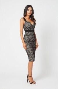 Vesper Brax Black Lace Bodycon Midi Dress – LBD – plunging party dresses – bodycon – glamorous evening fashion