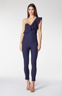 Vesper Christall Navy One Shoulder Frill Jumpsuit ~ asymmetric neckline jumpsuits ~ fitted party fashion ~ glamorous evening wear