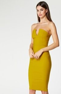 Vesper Dee Ochre V-Neck Strapless Pencil Dress ~ fitted party fashion ~ occasion bodycon ~ evening wiggle dresses