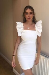 Vesper Ginny Ivory mini dress with statement shoulder frills ~ LWD ~ fitted going out dresses ~ party bodycon ~ statement shoulder frills
