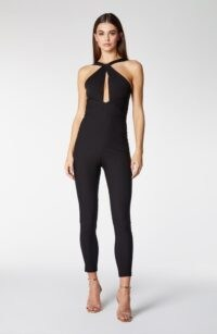 Vesper Portia Black Twist Front Fitted Jumpsuit ~ form fitting jumpsuits ~ glamorous evening fashion ~ party wear