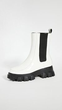 Villa Rouge Painter Lug Sole Booties Off-White ~ chunky patent leather chelsea boots ~ monochrome footwear