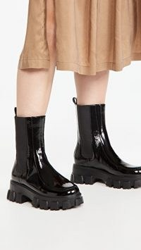 Villa Rouge Painter Lug Sole Booties in Black / shiny thick platform boots