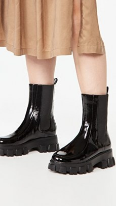 Villa Rouge Painter Lug Sole Booties in Black / shiny thick platform boots - flipped