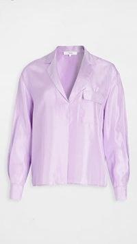 Vince Lilac Pocket Popover / shiny silk top