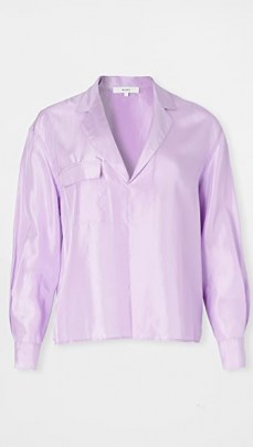 Vince Lilac Pocket Popover / shiny silk top - flipped
