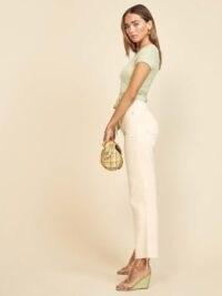 Reformation Vintage High Straight Crop Ivory | light denim jeans | unfinished hems | raw hem