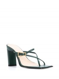 Wandler Yara strappy sandals in teal green – cross strap sandal – block heels