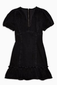 Topshop Washed Black V Neck Frill Hem Denim Mini Dress | ruffle trim pephem | casual fashion | puff sleeves