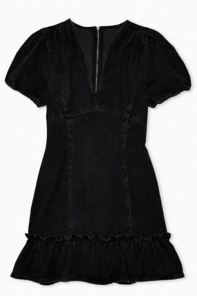 Topshop Washed Black V Neck Frill Hem Denim Mini Dress | ruffle trim pephem | casual fashion | puff sleeves - flipped