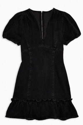 Topshop Washed Black V Neck Frill Hem Denim Mini Dress | ruffle trim pephem | casual fashion | puff sleeves