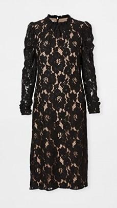 WAYF Emma Midi Dress / floral lace lbd / black occasion dresses - flipped
