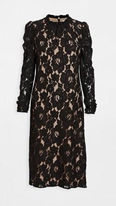 WAYF Emma Midi Dress / floral lace lbd / black occasion dresses