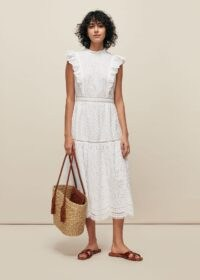 Whistles BRODERIE FRILL SLEEVE DRESS in White – classic ruffle trim summer dresses