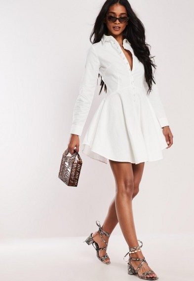 Missgided white button down faux pearl skater shirt dress ~ fit and flare dresses - flipped