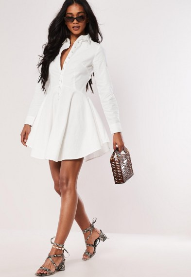 Missgided white button down faux pearl skater shirt dress ~ fit and flare dresses