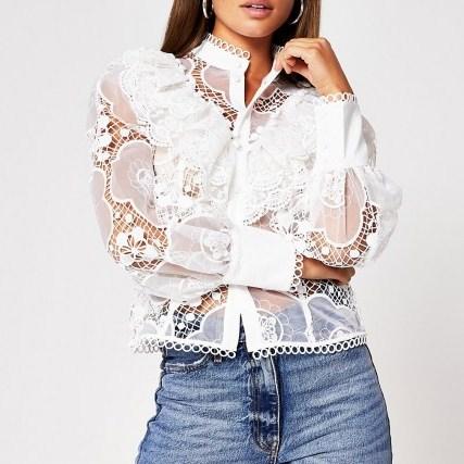 RIVER ISLAND White long sleeve lace shirt ~ romantic ruffled high neck blouse - flipped