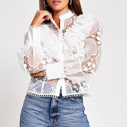 RIVER ISLAND White long sleeve lace shirt ~ romantic ruffled high neck blouse