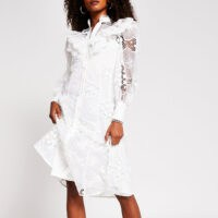 RIVER ISLAND White long sleeve midi lace shirt dress ~ ruffle trimmed dresses
