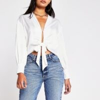 RIVER ISLAND White Ls Tie Front Luxe Shirt – long sleeve satin look shirts
