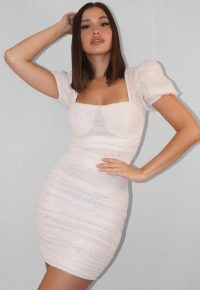 MISSGUIDED white mesh ruched puff sleeve mini dress – gathered bodycon