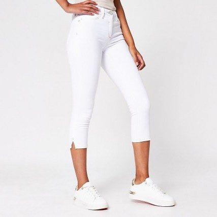 River Island White Molly Mid Rise Pedal Pusher | cropped leg skinnies - flipped