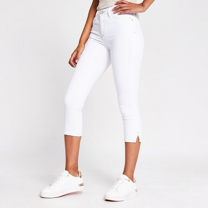 River Island White Molly Mid Rise Pedal Pusher | cropped leg skinnies