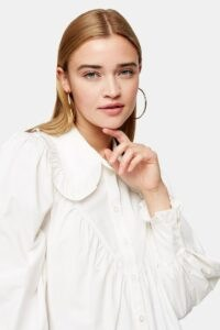 TOPSHOP White Poplin Ruffle Collar Blouse – oversized ruffled collars – blouses with volume