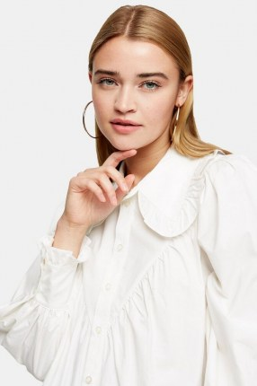 TOPSHOP White Poplin Ruffle Collar Blouse – oversized ruffled collars – blouses with volume - flipped