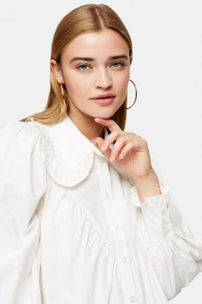 TOPSHOP White Poplin Ruffle Collar Blouse – oversized ruffled collars – blouses with volume
