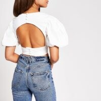 River Island White short puff sleeve crop top | cropped open back tops