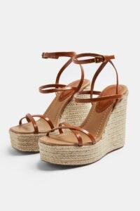 Topshop WILLA Tan Wedge Sandals | strappy wedged heels | jute heel wedges