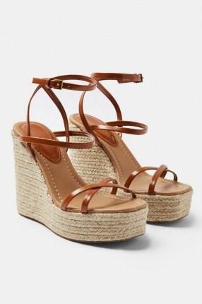 Topshop WILLA Tan Wedge Sandals | strappy wedged heels | jute heel wedges - flipped