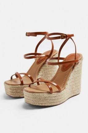 Topshop WILLA Tan Wedge Sandals | strappy wedged heels | jute heel wedges