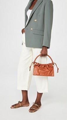 Yuzefi Bom Bag Tan ~ brown leather drawstring top handbag ~ luxe handbags - flipped
