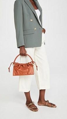 Yuzefi Bom Bag Tan ~ brown leather drawstring top handbag ~ luxe handbags