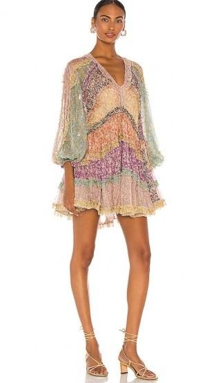 Olivia Munn multicoloured balloon sleeve mini dress, Zimmermann Carnaby Frill Billow Dress, on Instagram, 28 July 2020 | celebrity social media fashion | dresses - flipped
