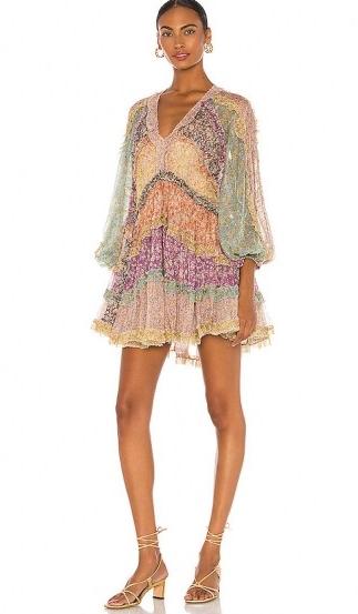Olivia Munn multicoloured balloon sleeve mini dress, Zimmermann Carnaby Frill Billow Dress, on Instagram, 28 July 2020 | celebrity social media fashion | dresses