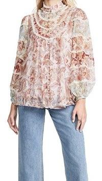 Zimmermann Ladybeetle Spliced Blouse Jacobean ~ lace trim high neck blouses