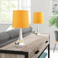 Leila 34cm Table Lamp by Zipcode Design – Bright orange and silver for that modern look