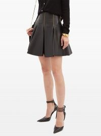 VERSACE Zip-embellished pleated leather mini skirt in black ~ luxe pleat detail skirts